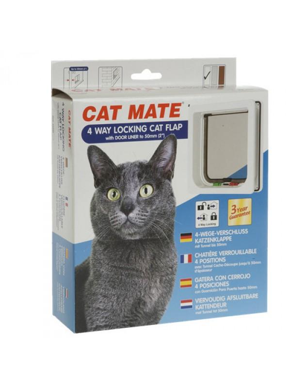 Cat Mate 4 Way Cat Flap With Door Liner For Wood